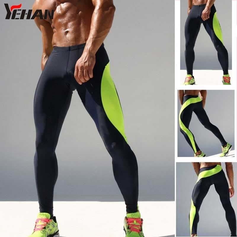 Mens Running Runs High Stropy Legging Fitness Low Cintura Low Cintura Academia Homens Polyester Treinamento Calças Patchwork Compression Homens Y200529