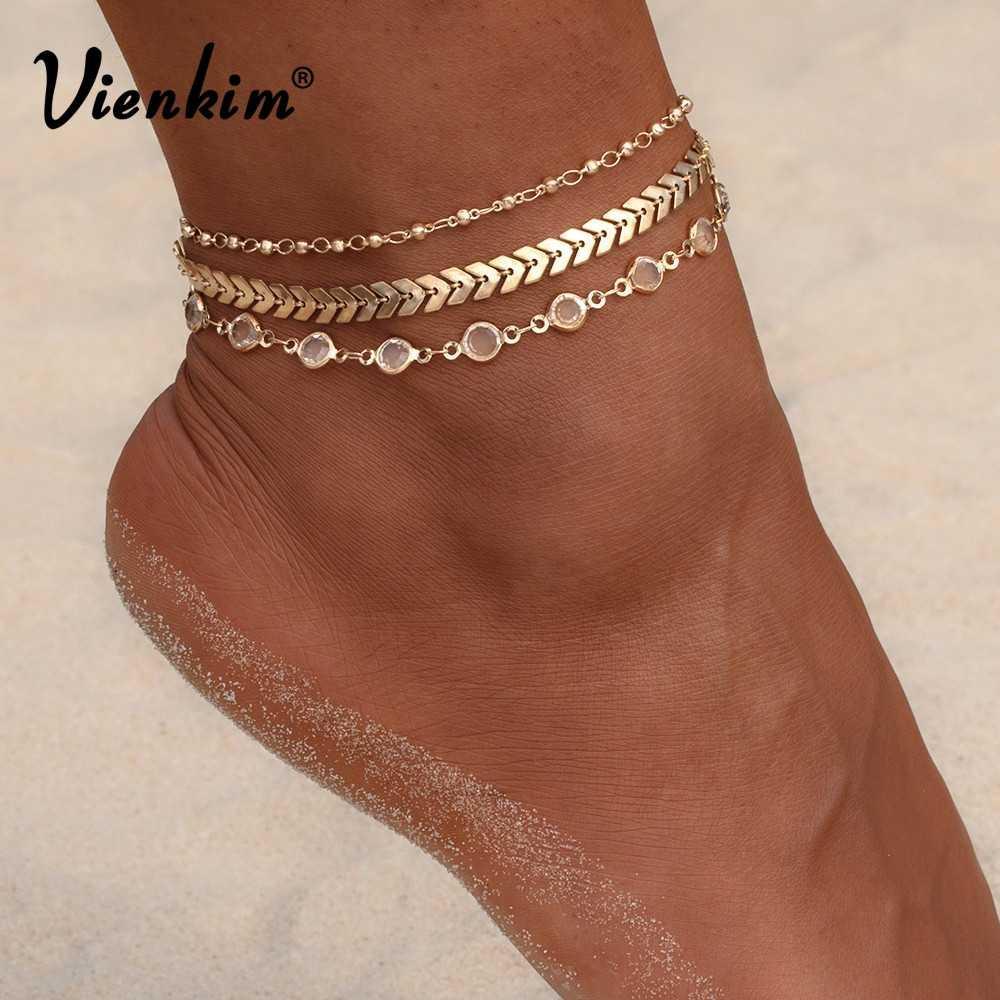 Vienkim 3PCS / Lot Crystal Sequins Ankièces Set Beach Foot Bijoux Vintage Bracelets de cheville pour Femmes Summer Bijoux Party cadeau 2020