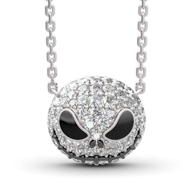Nightmare Antes de Natal Esqueleto Jack Crânio Cristais Pingente Mulheres Bruxa Colar Goth Gótico Jóias Atacado J1218