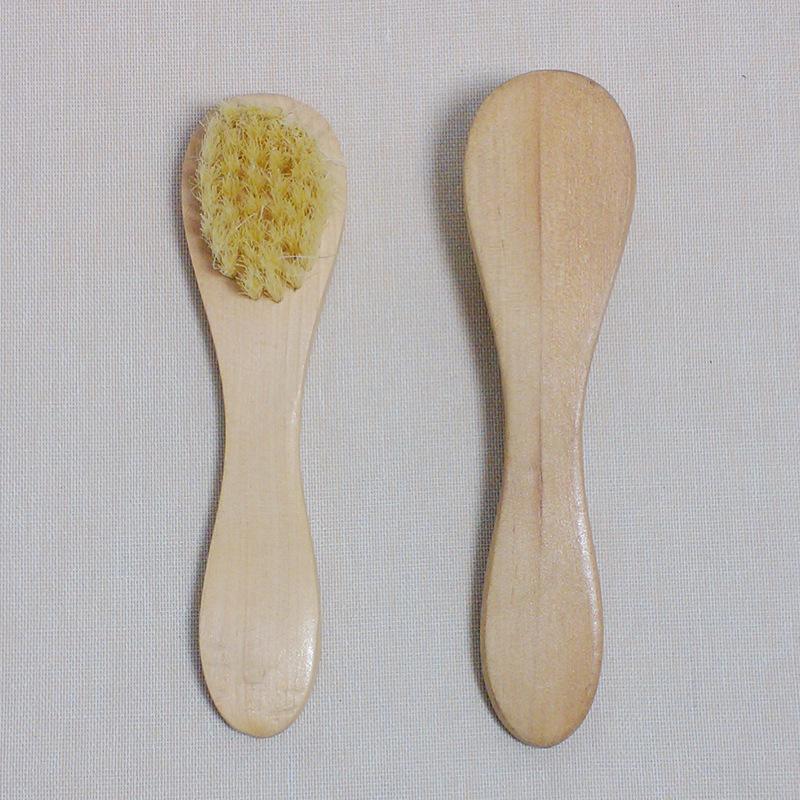 Petit nettoyage du visage Brosse pour le visage exfoliation naturelle du visage Soies Brosses de massage avec poignée en bois WB2890