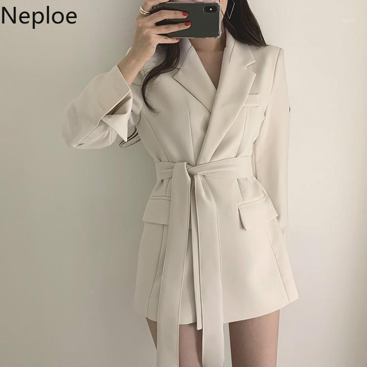 Neploe Lace Up Çentikli Blazer Coat Kadınlar Yüksek Bel Mont Moda Zarif Giyim 2019 Sonbahar Yeni Üst Dış Giyim 536451