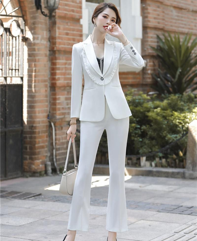 Формальные однородные дизайны брюки для женщин деловые костюмы с брюками и куртками стилей пальто Профессиональная карьера Blazers Set1