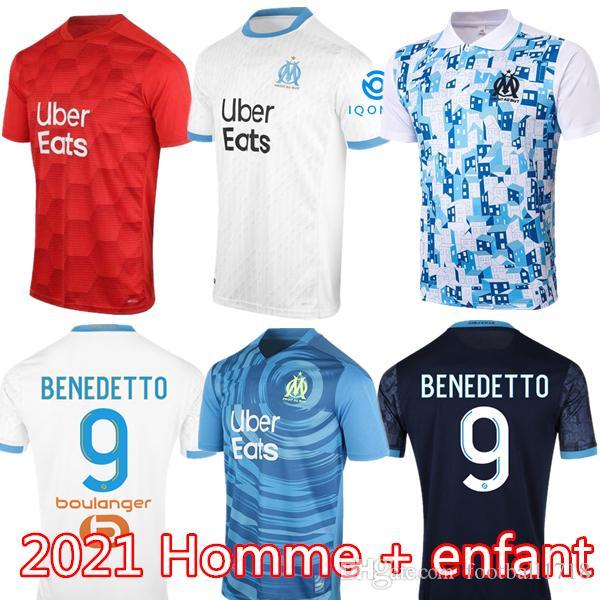 올림 피크 드 마르세유 축구 유니폼 2020 2021 OM 마르세유 타이츠 드 발 PAYET THAUVIN BENEDETTO 폴로 셔츠 (20 개) (21) 마르세유 셔츠