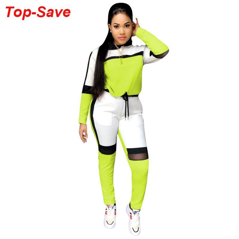 Grand Retro Vintage Ladies deux pièces Set Top et pantalon Survêtement femmes Neon Outfit Mode Automne Hiver Sports Femmes Casual