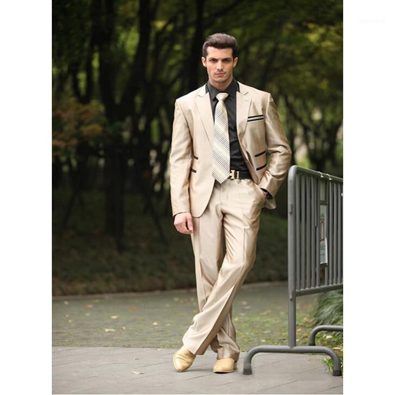 Abiti da uomo Blazer personalizzati in stile Classico stile Classic Style Suit 1 Bottoni Groom Smokings Groomsman Man per vestiti (giacca + pantaloni) 1