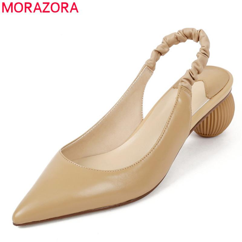 Bombas MORAZORA verão 2020 as mulheres de couro genuíno moda rasas sandálias dedo apontado mulheres sapatos de festa simples de damasco branco 0928