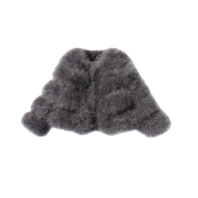 Marca avestruz de lana Escudo Turquía real mujeres de la piel gris genuino pluma corta de alta Qulity Festival de Invierno de manga larga JacketX1016