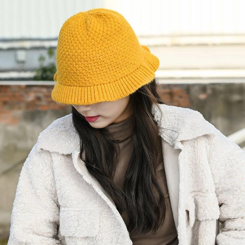2020 Женщины Осень и зима Рыбак Hat Лук Вязаная Basin Cap Корейский Bucket Hat Теплое и Versatile панама Femme подарков
