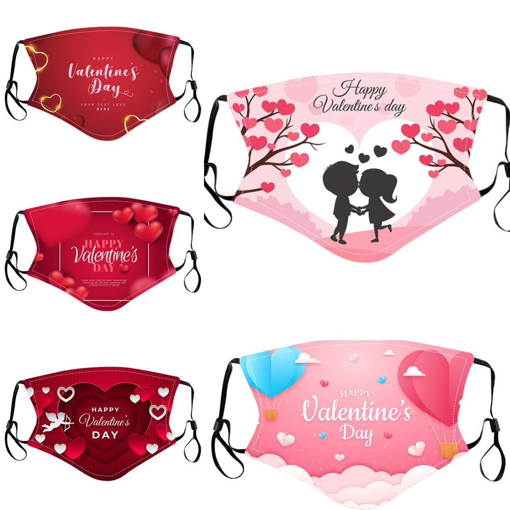 Respirador Día de San Valentín Personalizado Impresiones adultos Mascarillas de cara Algodón a prueba de polvo lavable RREUSABLE MASCKS MASKS OJING