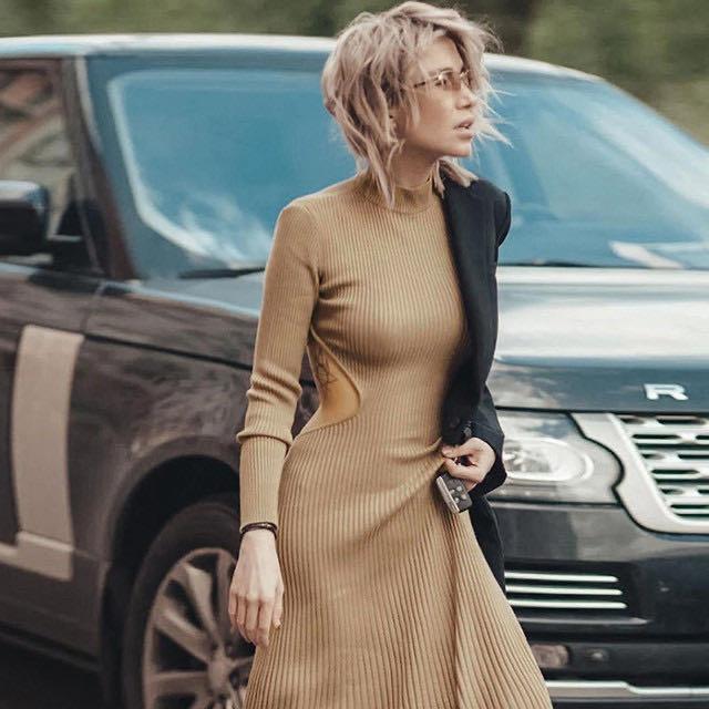 2020 Cryptographic sexy dos nu nervuré Tricoté Midi Robes encolure montante du Club Parti robe à manches longues automne hiver Streetwear Robes