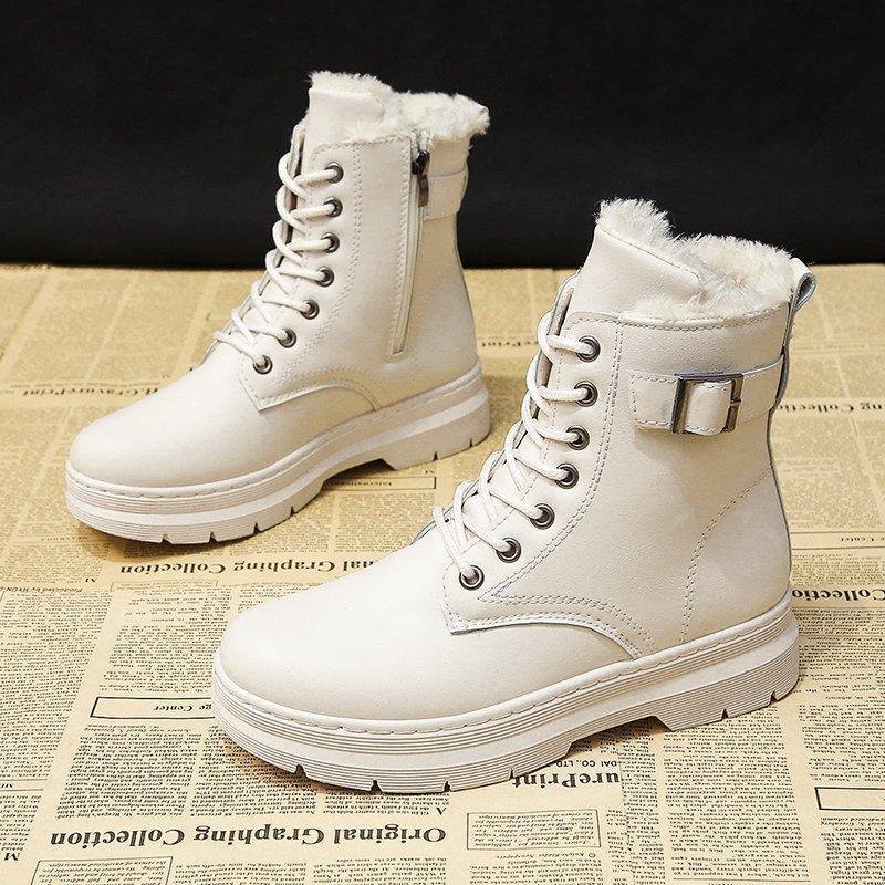 Stivali invernali inverno donna calda caviglia 2021 piattaforma scarpe gotiche in pelle beige corta moda elegante design nero