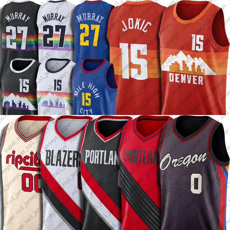 Nikola 15 كرة السلة Jokic Jersey جمال 27 موراي الفانيلة داميان 0 ليلارد جيرسي كارميلو 00 أنتوني الفانيلة كرة السلة