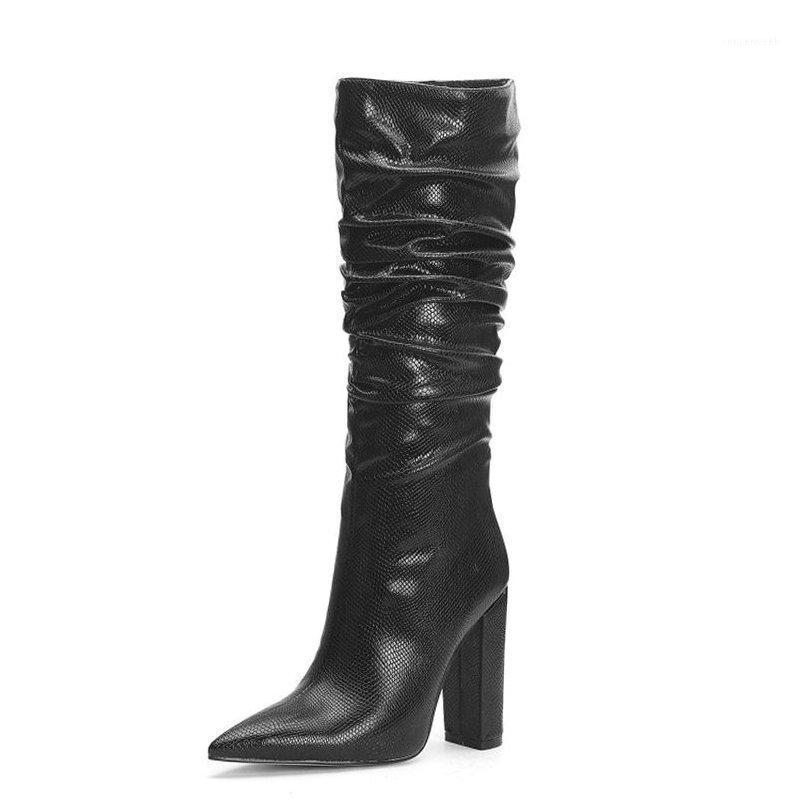 Snake Print Knee High Boots Fashion Pleated Square High Heels Long Boots For Women Western Faux Leather Ladies Shoes 20201