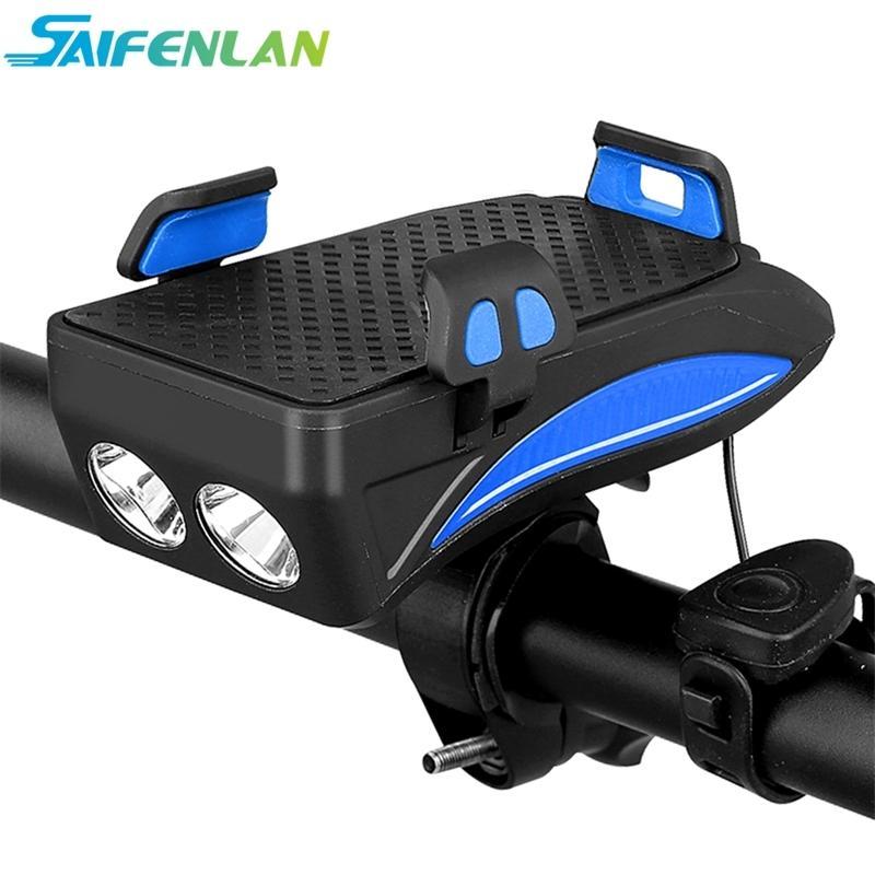 Многофункциональный велосипедный свет USB аккумуляторные светодиодные велосипедные передний свет фонари велосипеда + держатель телефона + Power Bank 4in1 велосипедная головная лампа 201030