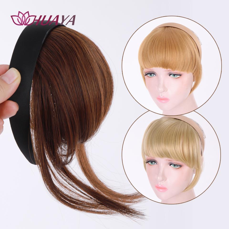 Huaya Blunt Clip dritto con fascia per donna Bangs periwig Accessori estensione per capelli Nero / Marrone / Colore misto