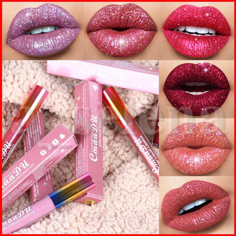 Cmaadu Glitter flip Lip Gloss Velvet Matte Lip Tint 6 cores impermeável de Longa Duração de diamante de flash Shimmer líquido Lipstick