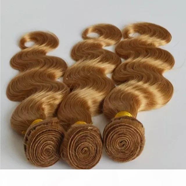 Pure Color Strawberry Blonde Цвет Богородица перуанский волос ткать Связки 100% человеческих волос Плетение 1 шт 100g тела Плетение Плетение волос