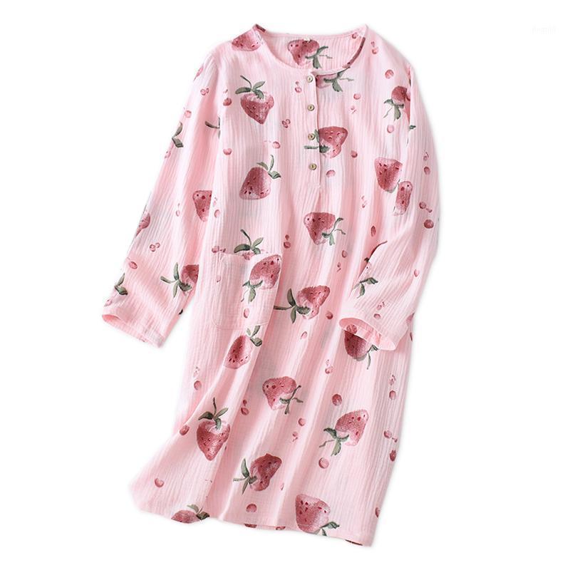 Ropa de dormir de las mujeres invierno kawaii fresa 100% crepé algodón camisones mujeres vestido de noche japonés casual manga larga interior Suele 1