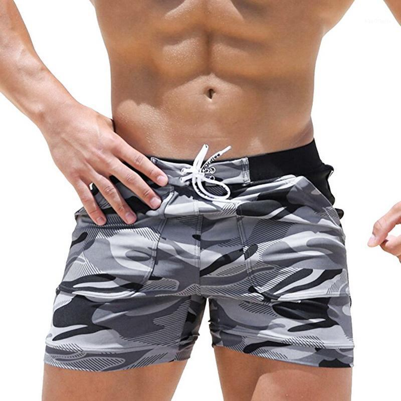 New Summer Men's Beach Casual Shorts Swimming Trunks Quick drying Drawstring Fitness Workout Loose Camouflage Sports Short 20201