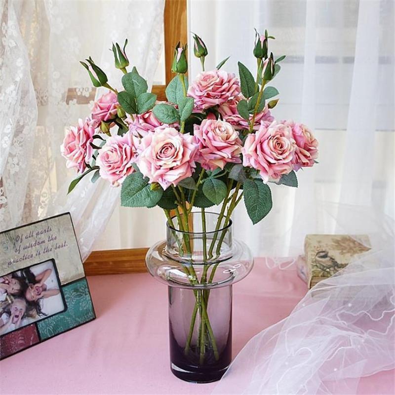 """Gefälschte Short Stem Curling Rose (3 Köpfe / Stück) 20.47"""" Länge Simulation Melaleuca Rosen für Heim Hochzeit Dekorative künstliche Blumen"""