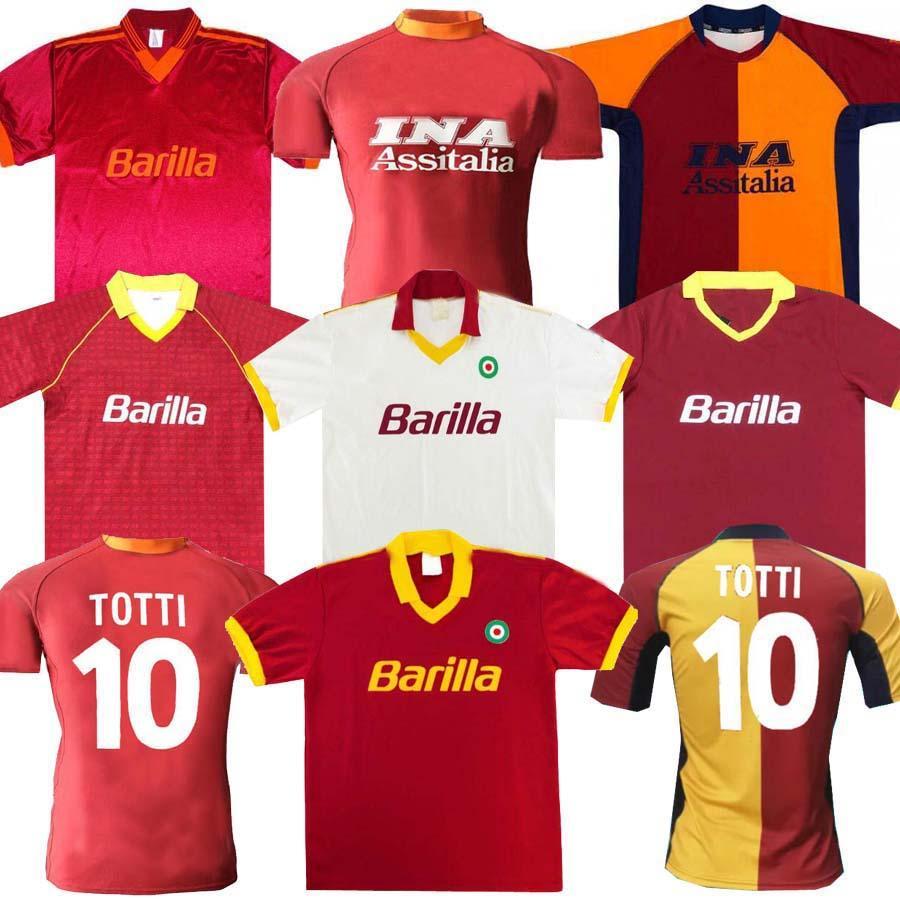 00 01 2002 Roma Retro Soccer Jersey 00 01 02 89 90 Totti Batistuta Candela Montella Classic Commemental Collection Maglia da Calcio