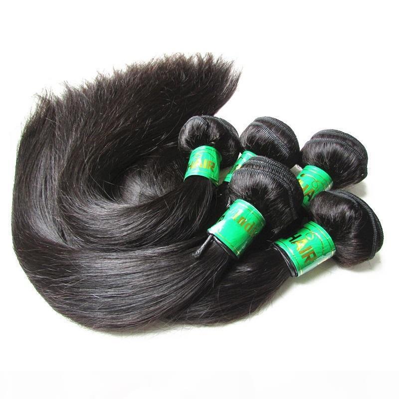 DHGATE Saç Ürünleri Ham İşlenmemiş Hint Saç İpek Düz 5 adet 5 adet 5 adet 5 adet Lot 10A Remy İnsan Saç Uzatma Demetleri Bir Donörden Kes