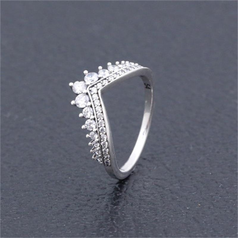 واضح تشيكوسلوفاكيا الماس الأميرة رغبة حلقة مجموعة الأصلي ل باندورا 925 فضة النساء الفتيات الزفاف تاج خواتم 5 K2