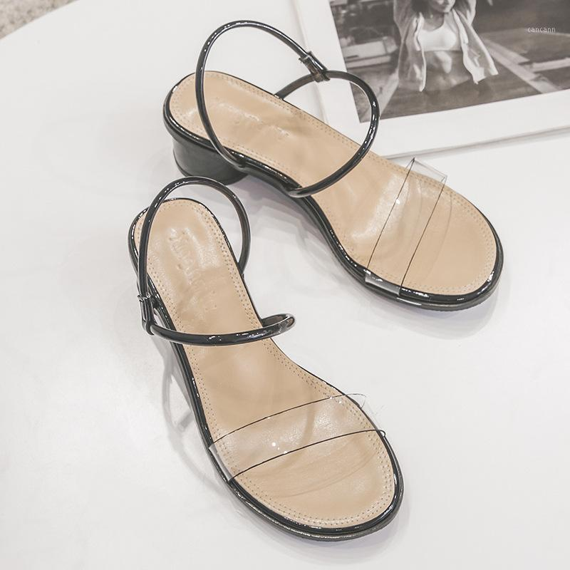 clear transparent pvc open toe round chunky women sandals summer solid trendy narrow band slingback slippers anti-skid sandalias1