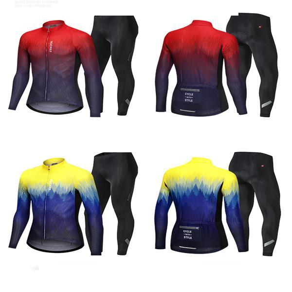Cheap in bicicletta vestito bici Jersey camicia a maniche lunghe giubbotto abbigliamento bretelle pantaloni vestiti della bicicletta della bici della squadra inverno CICLISMO