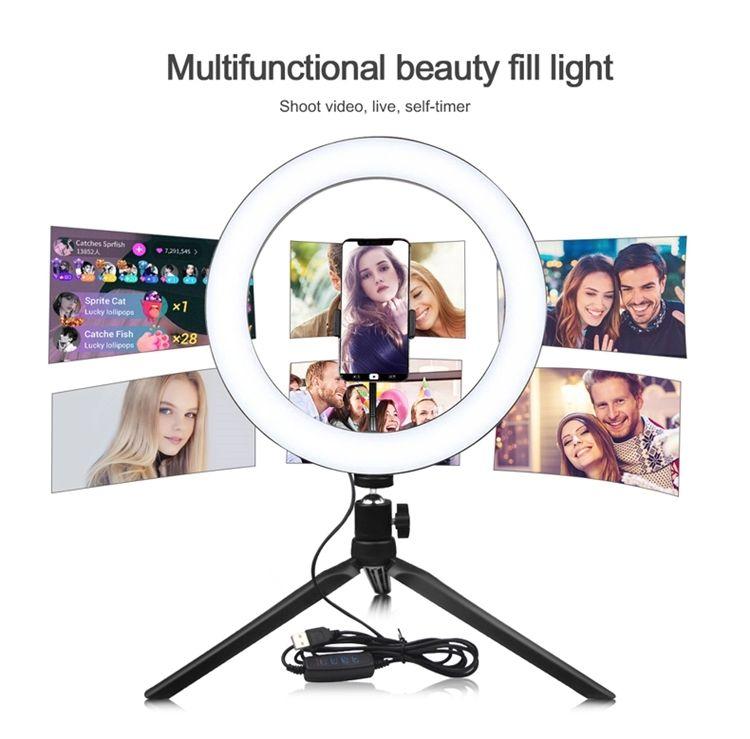2021 USB Tripod Bracket Desktop Dimmable lighting 10 Inch Live Fill Light LED Makeup Lights Selfie Ring