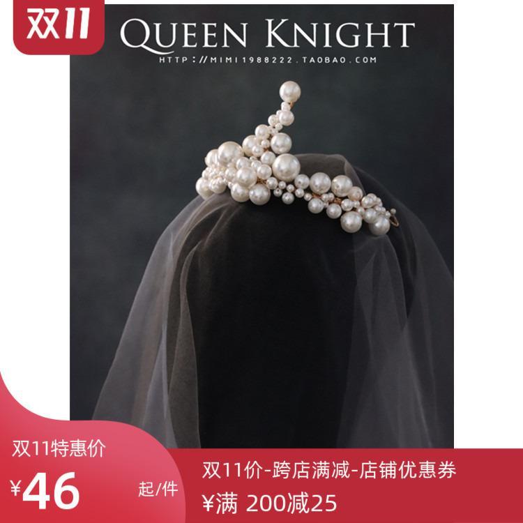 Изысканный большой жемчужиной короны полукольцо невеста свадьба фото студия моделирования сторона головной убор