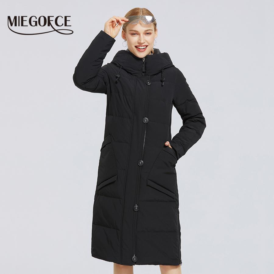Algodón longitud de la capa simple de MIEGOFCE invierno nuevas mujeres del estilo a prueba de viento chaqueta de invierno abrigos esquimales de manera con estilo Mujer Parkas 201012