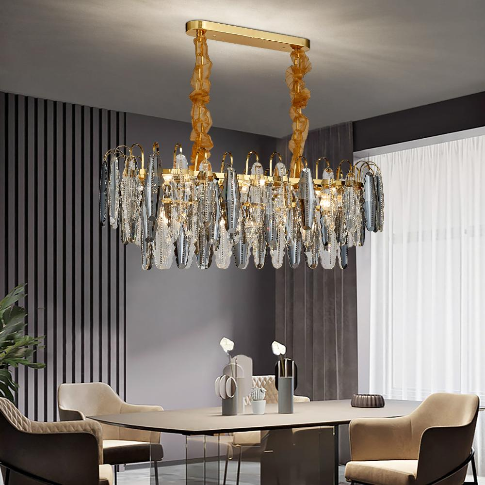 Un nouvel éclairage de lustre moderne pour luminaires en cristal de la chaîne rectangle salle à manger cristaux île cuisine de luxe lampes