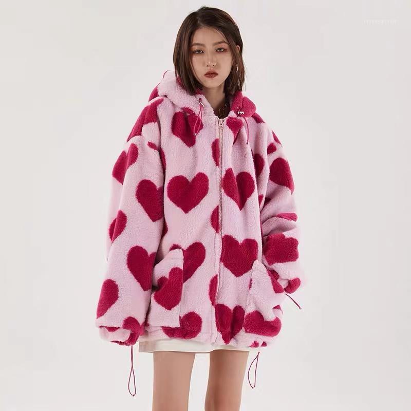 Hip Hop Flanell Parkas Lammwolle Hoodie Jacken Frauen Streetwear Volldruck Herz Winter Harajuku Sherpa Reißverschluss Mantel Übergröße1