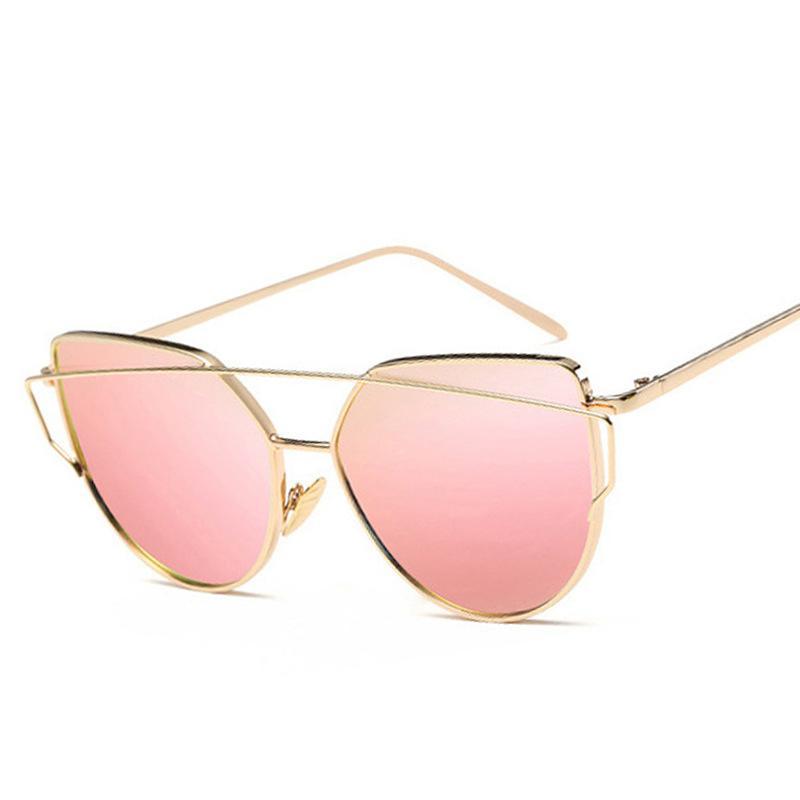 2020 Forme a mujeres las gafas de sol del ojo de gato retro de los vidrios de Sun de los vidrios de metal reflectante para las mujeres UV400 Gafas de Sol Gafas