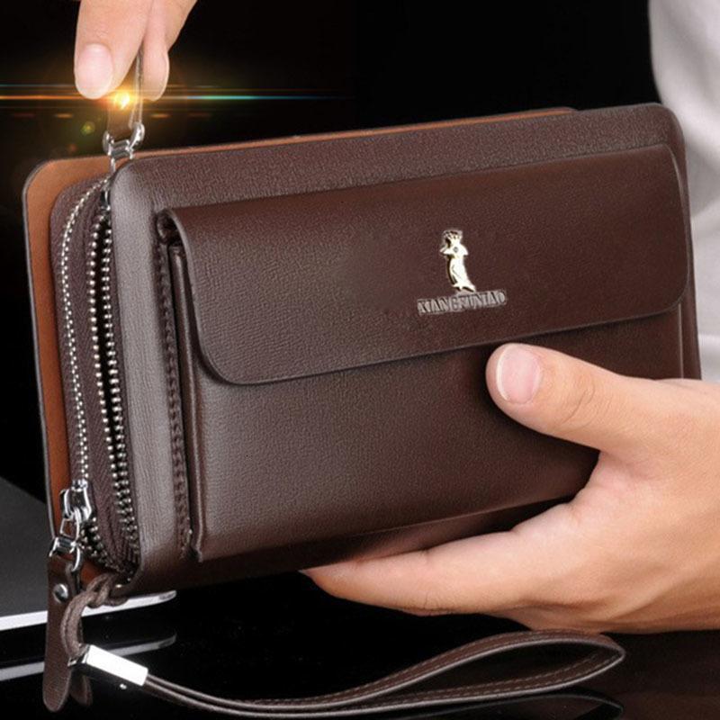 Double Zipper Luxe Rétro Pochette hommes Portefeuille en cuir Organisateur Big Capacité Passport Cover Male Porte Homme Feuille