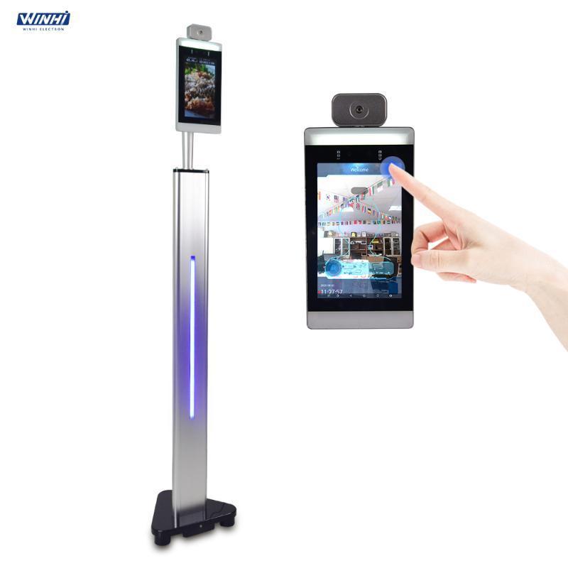 """Sistema de reconhecimento facial Touchless 8 """"Dispositivo térmico AI Face do corpo Face Temperatura Measuring Camera Kiosk"""