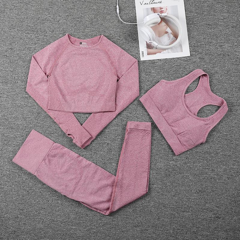 Frauen nahtlose Sportanzüge Fitness Yoga Set Fitnessstudio Training Kleidung Langarm Crop Top Shirts Hohe Taille Lauf Leggings Hosen C0122