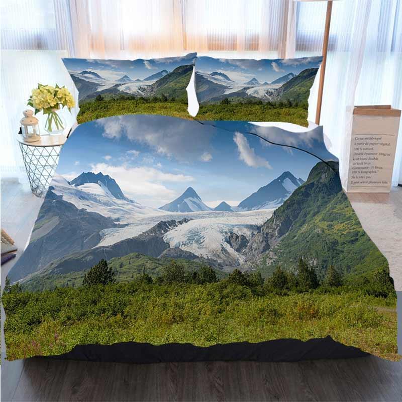 3pcs del lecho del algodón Set Super King duvet cover set Worthington glaciar en Alaska poliéster funda nórdica Juegos de cama de lujo