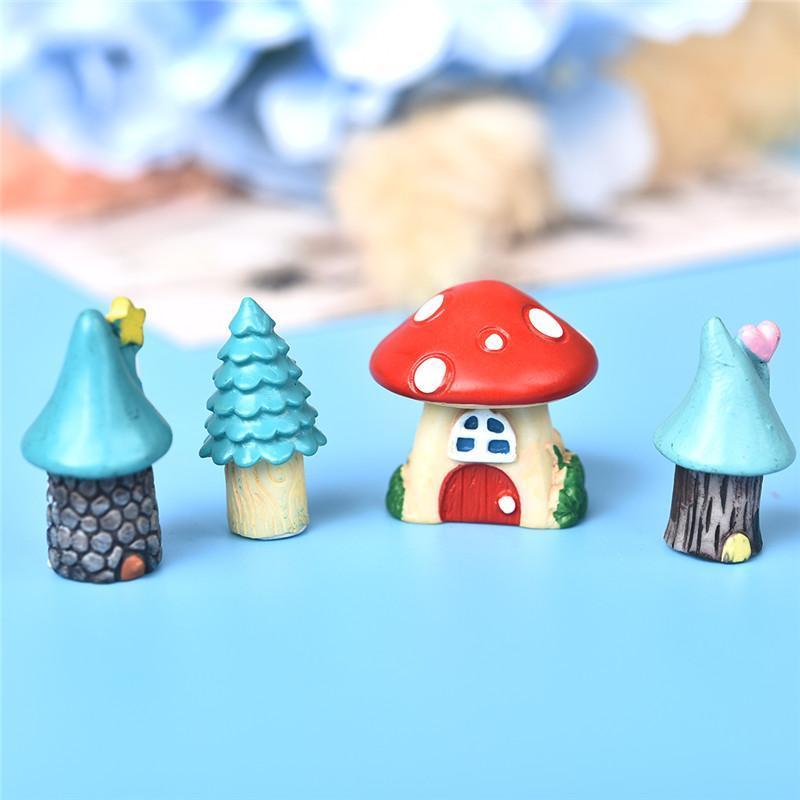 3шт / комплект мини-мультфильм красный грибной дом 3 типы смола ремесло миниатюрное здание микро гному террариум фея садовые принадлежности
