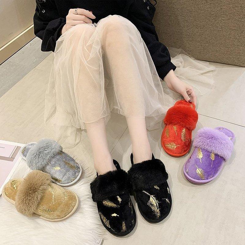 Frauenebenen beiläufige Schuhe Frau plus Größe haus Winter warme Hausschuhe Schuh chaussures femme mujer zapatos sapato NH274