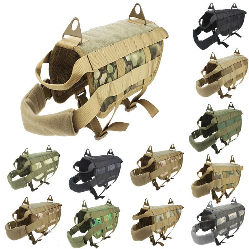 Vêtements de chien de camouflage en plein air Molle Charge Veste Veste Vest Vest Trating Tactical Dog Training Gilets Harnais No06-205