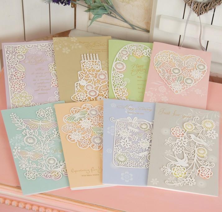 Cartões criativos Cartão de bênção tridimensional gravado elegante pérola bênçãos cartão de aniversário 8 cores atacado1