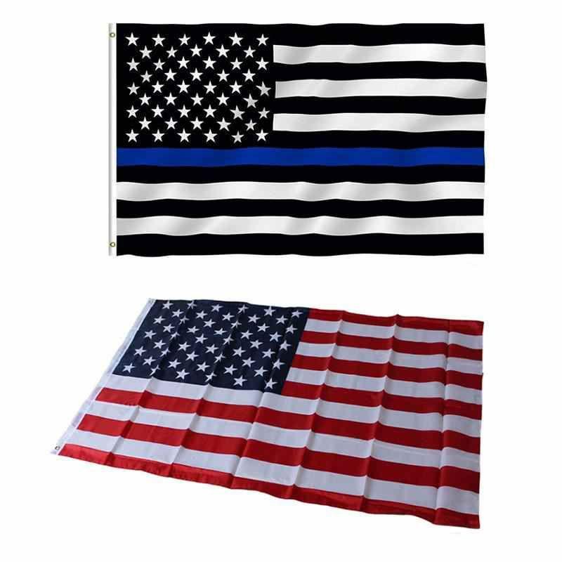 3'x 5 'Ayak Amerikan ABD ABD Ulusal Bayrakları Banner 90x150 cm İnce Mavi Bayrak Kırmızı Çizgi Siyah Beyaz Yıldızlar ve Çizgili Pirinç Grommets