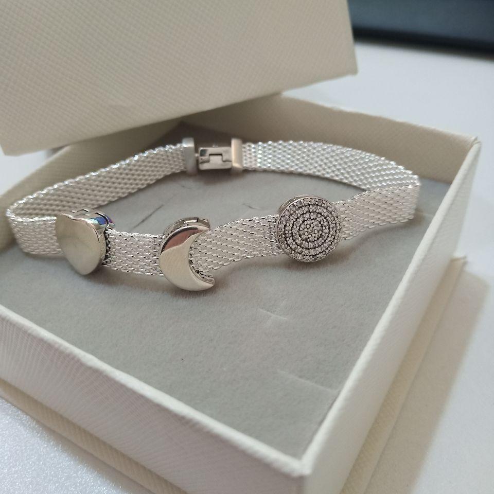 925 Sterling Silver Rose Reflection Logo Clip Charm Réflexion Crown Clip Eternal Charm pour Bracelet de style Pandora
