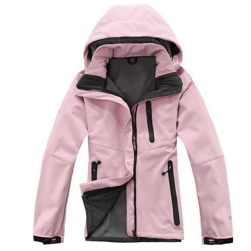 Venta caliente con capucha para mujer Softshell Chaquetas Moda APEX BIONIC AUMPARTE A prueba de viento A prueba de agua Térmico para caminatas Camping Ski Down Sport Swear Abrigos