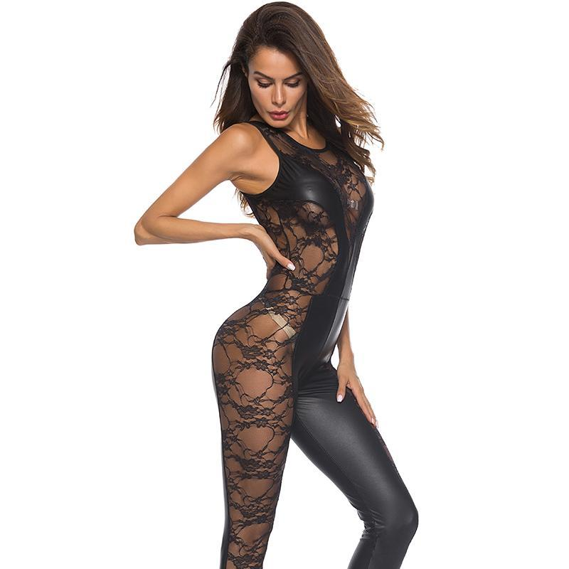 PU sexy skinny Tuta senza maniche in vinile Catsuit Body Pole Dance Costume Mesh Lace Patchwork Wetlook Ecopelle tuta
