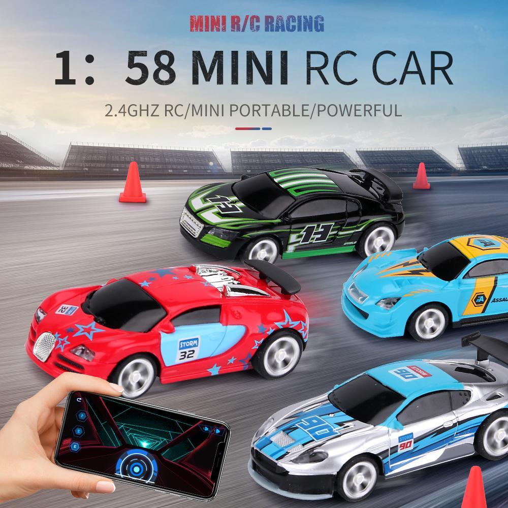 2.4 جرام 1/58 مصغرة RC التحكم عن بعد سيارة سباق مع ضوء 2 وضع التحكم app قابلة للشحن متعددة اللاعبين معا سيارة كولا يمكن أن صندوق 201202