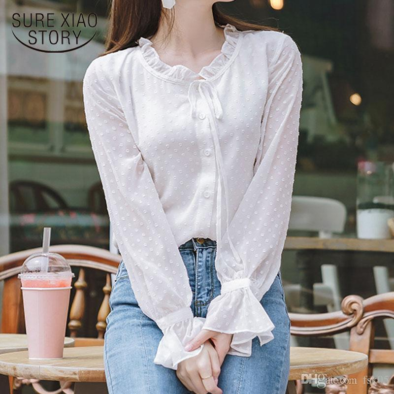 Blusa Otoño Camisa Camisa de manga larga Sólido Blanco Mujer Blusa Sweet Polka Dot Coreano Slim Office Ropa Nueva llegada 10418
