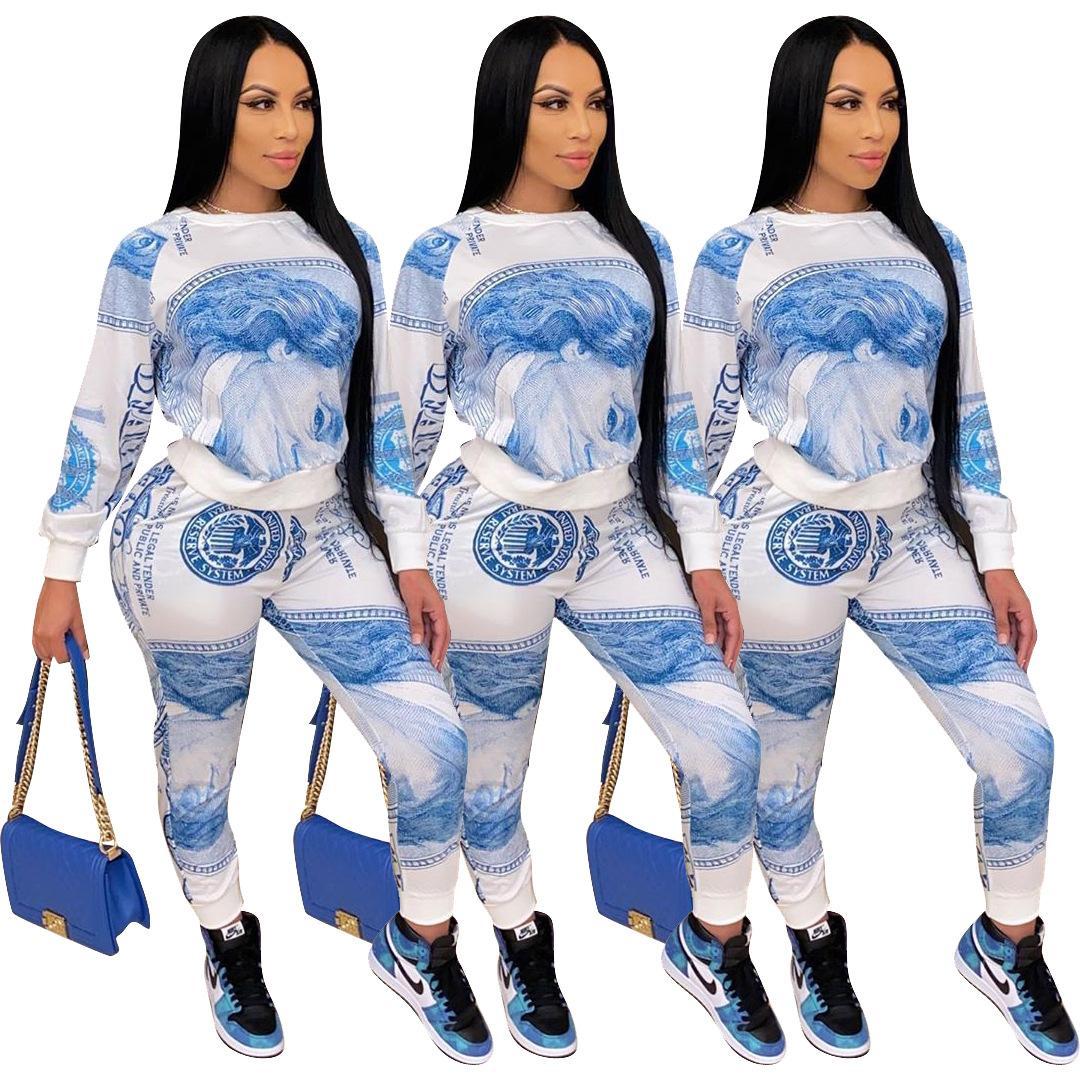 Kadınlar Tasarımcı Casual İki Adet Kıyafetler Biden Doları Baskılı Pantolon İki Adet Set Koşu Femme Eşofman Eşleştirme Homewear Streetwear ayarlar